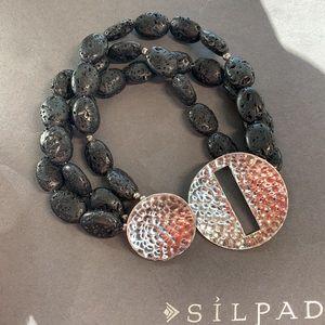 B1511 retired black lava bead sterling bracelet
